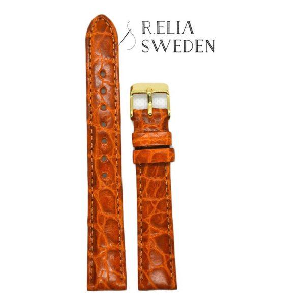 12mm Klockarmband R.Elia – Orange krokodilmönster Äkta läder – Guldfärgad spänne