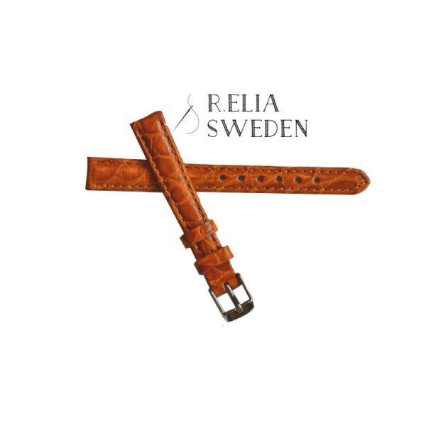 Klockarmband R.Elia - Orange krokodilmönster Äkta läder