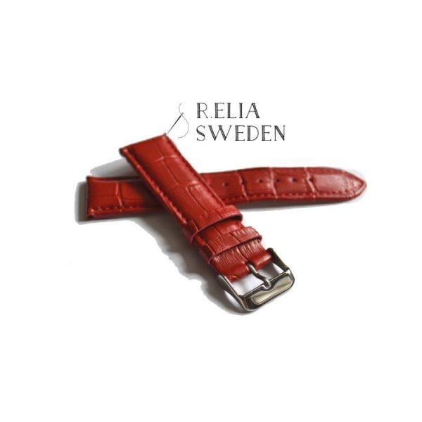 Klockarmband R.Elia - Röd krokodilmönstrad i äkta läder