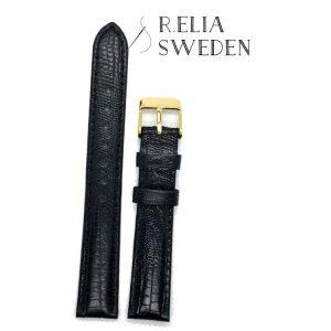 Klockarmband R.Elia – Blå krokodilmönstrad i äkta läder – Guldfärgad spänne