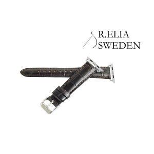40mm / 38mm Apple watch Klockarmband R.Elia – Mörkbrun krokodilmönstrad i Äkta kalvläder