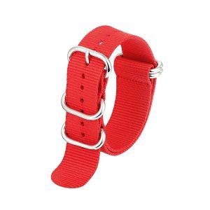 5 ringar ZULU Nylon klockarmband – röd